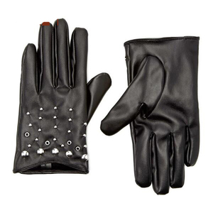 Women short synthetic driving leather gloves fashion studs car driving gloves for ladies