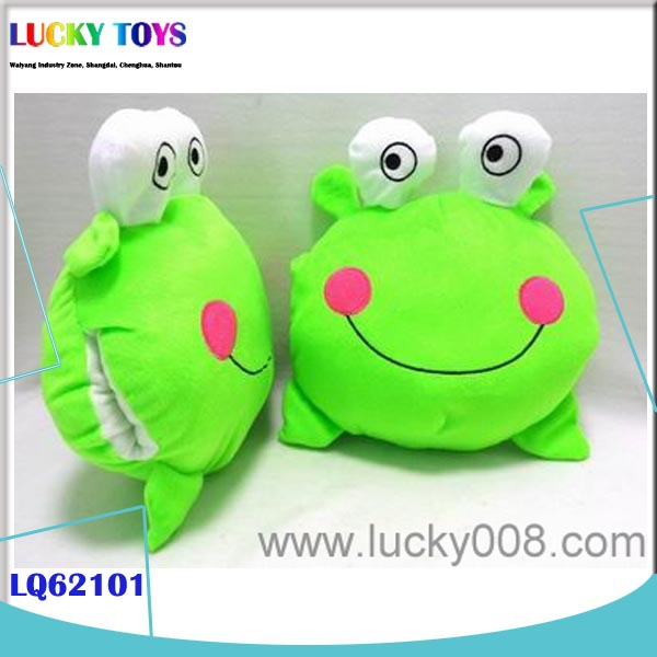 New Product 10 inch HAND WARMER pictures of frogs plush toy plush emoji pillows stuffed animal shape kid gift green frog dog toy