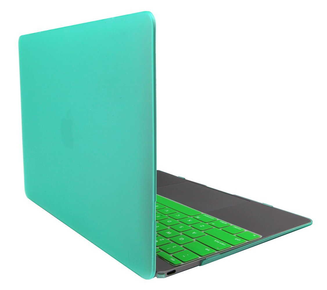 """Techno Earth Rubberized Hard Case Cover for Macbook 12"""" A1534 with Silicone Keyboard Cover Newest Model ( Early 2015 ) Green"""