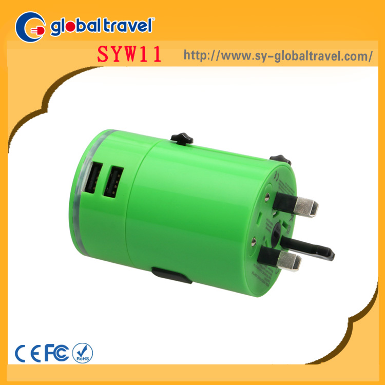 CE hot new multifunctional worldwide portable mini universal travel adaptor with dual usb port