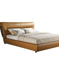 France design bedroom set leather bed