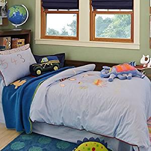 Get Quotations Lelva Boys Bedding Set Embroidery Cotton Rocket Duvet Cover Kids Twin
