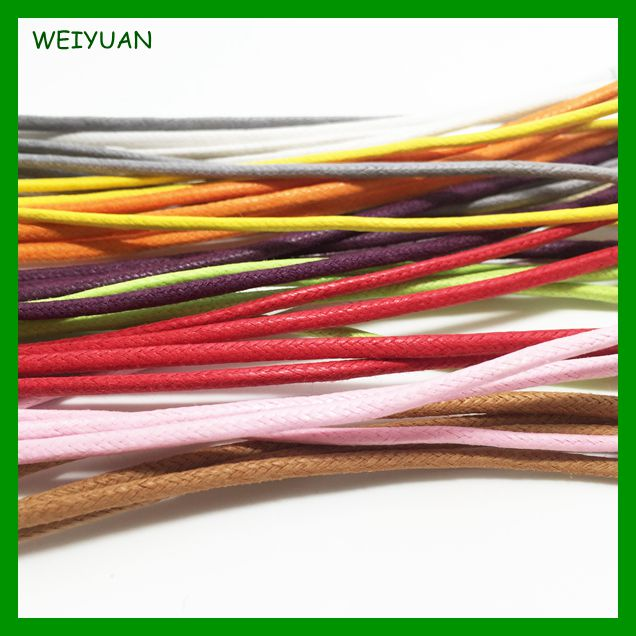 Eco-friendly multi colored braided waxed cotton draw cord