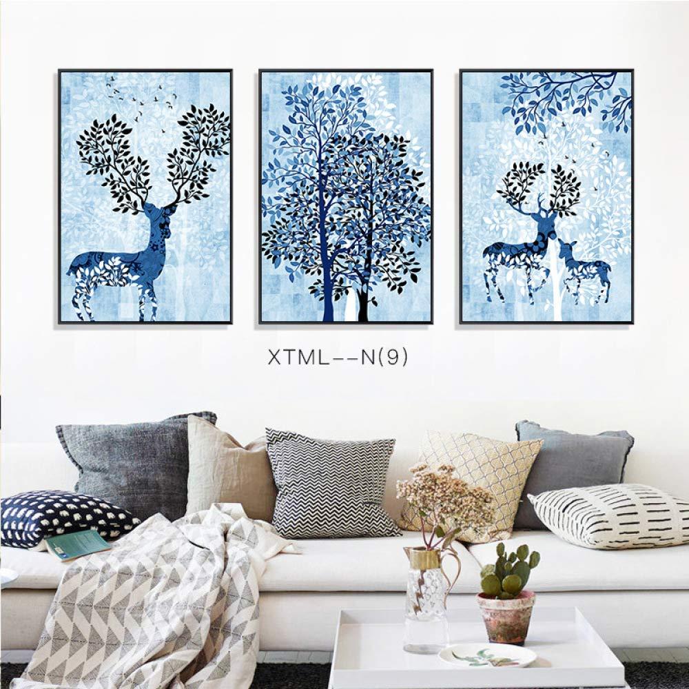 PLLP Simple elk plant European decorative painting, animal pattern still life mural, living room decorative painting, hanging painting, triptych