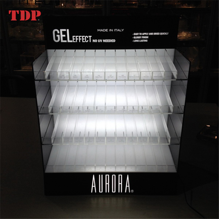 Led Lit Glorifier Clear Acrylic Rack Shelf Cabinet Nail Polish Display Stand
