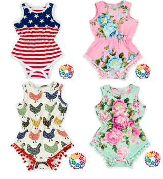 84ea5e064d43a hot sale baby summer clothing pink aqua floral red white blue stripe 4th of  july holiday