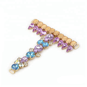 Anklets foot jewelry T shape color jewelry stone decoration shoe chain with rhinestone beads for lady sandal
