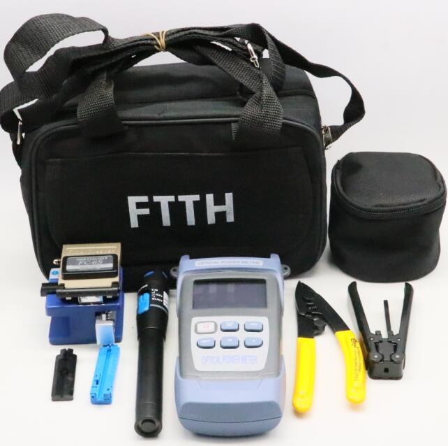 الجمع بين وظيفة مقشر كابل في الباب ، الساطور ، التنظيف ، واختبار FTTH مجموعة أدوات ألياف بصرية