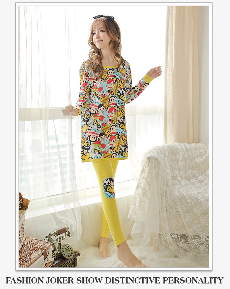 3ca48f48f5 Get Quotations · 2015 Spring Pajamas Cartoon Mouth Monkey Frog Prints  Women s Autumn Nightgowns Lady Milk Silk Cotton Nightshirts