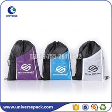 Custom made nylon drawstring sports bags with size mesh pocket