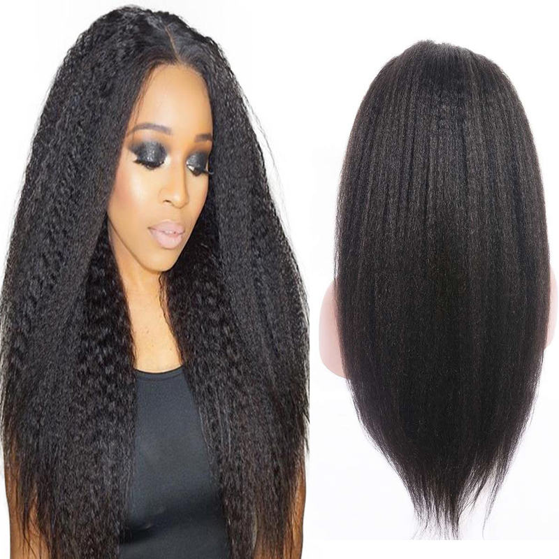 Wholesale Vendors Brazilian Virgin Kinky Straight Lace Frontal Wig Natural Hairline Long Glueless Remy Human Hair Wig with Bangs