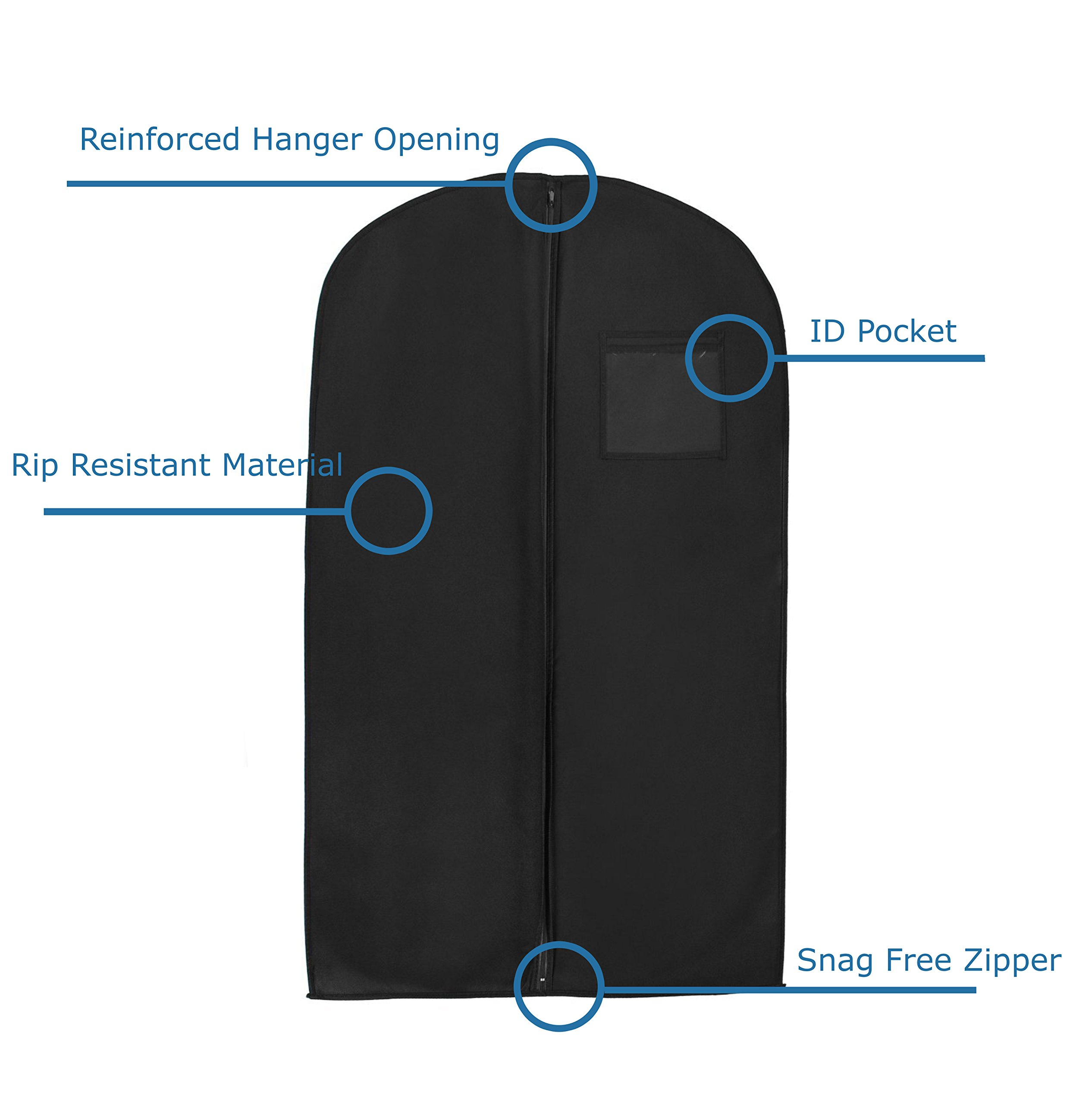 """New Breathable 55"""" Suit/Dress Black Garment Bag by BAGS FOR LESS"""