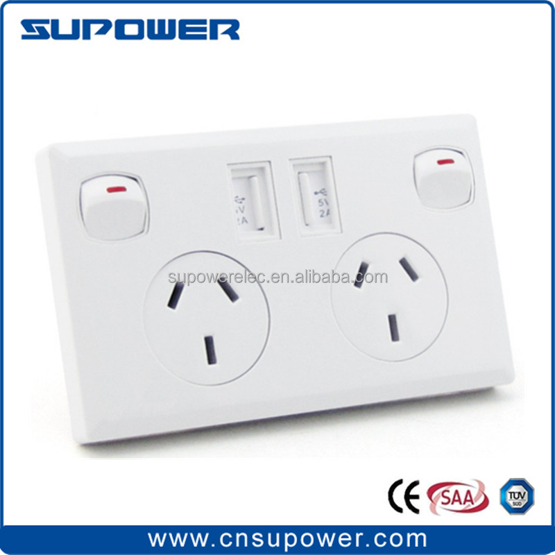 Australian Australia AU standard dual USB power <strong>point</strong> and electrical wall switch socket plate outlet USB charger