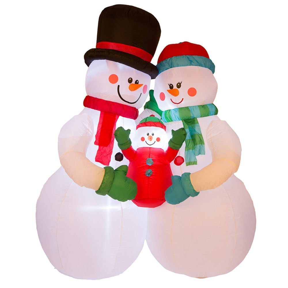 get quotations 8ft led airblown inflatable snowman family christmas holiday yard decorations