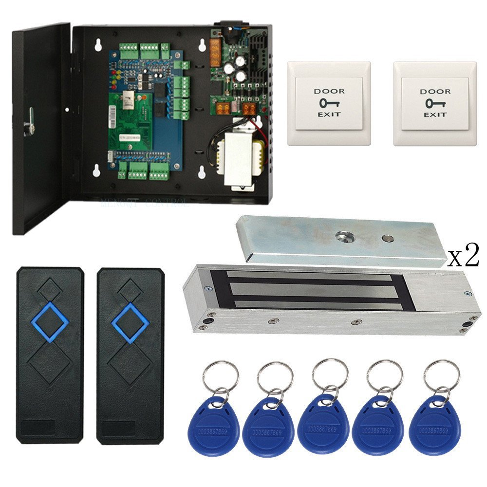 1200lbs EM Lock Wiegand Double Door Access Control System Kits with 110-240V Power Supply Box RFID Reader Exit Button Key Fobs
