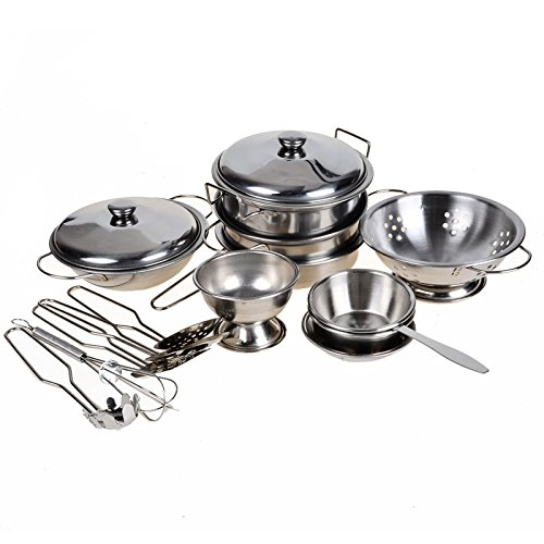 16pcs Miniature Toy Pots and Pans, Stainless Steel, Pretend Play Kitchen Set for Kids