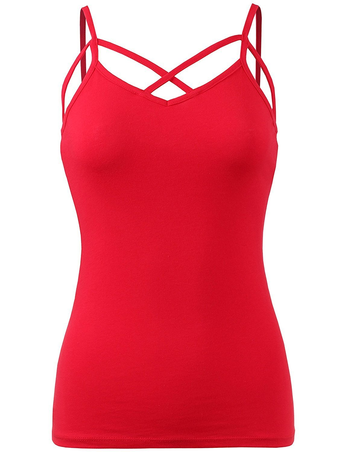 BABY-QQ Comfortable Womens Solid Casual Strappy Cutout Spaghetti Strap Cami Tank Top-L-RED Doubldowt409_redLarge