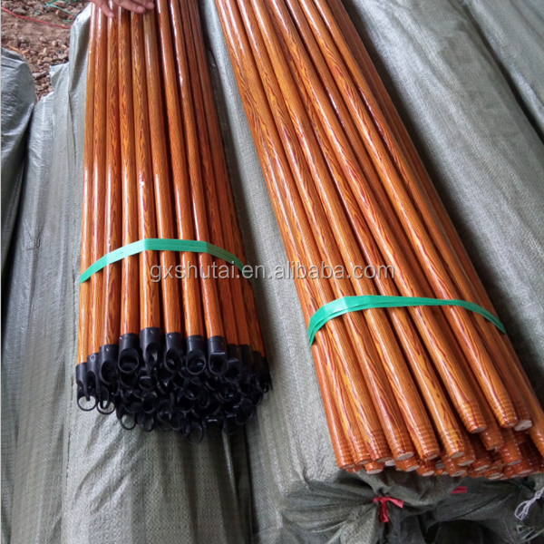 PVC Coated Wooden Broom Stick , plastic broom handle