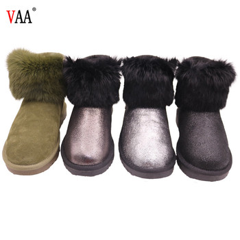 AN-CF-61 High Discount Genuine Leather Sheepskin Lined Rabbit Fur Outside Antiskid TPR Sole Winter Snow Real Wool Felt Boots