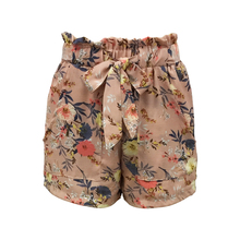New Fashion 100%Polyester Women Girls Ladies Casual Fancy Beach Pink Color Floral Print Straight Shorts with Bow Belt & Pockets