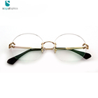 Prescription Glasses Eyewear Optical Fashion Women Custom Round Metal Rimless Eyeglass Frame