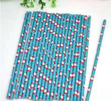 Paper straws Christmas party provide custom color striped paper straw