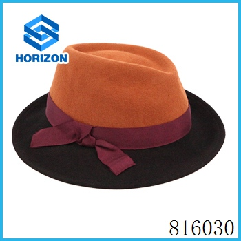 Plain custom wool felt bucket hat with high quality knitted bowknot hat millinery for sale