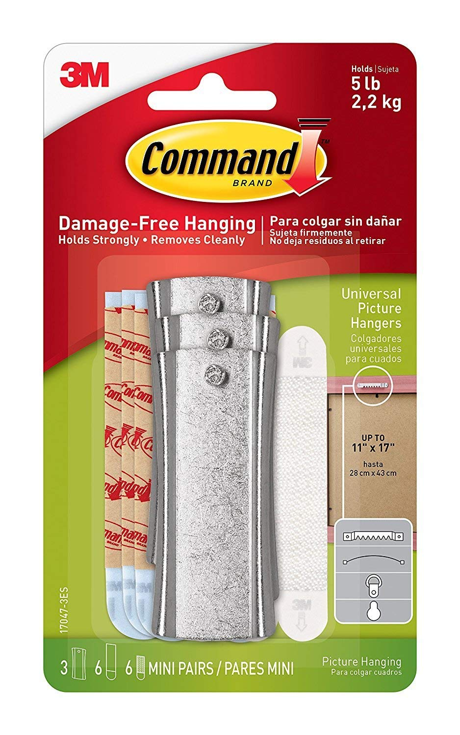 Command Universal Picture Hangers w/ Stabilizer Strips RJ126, 4-Hangers
