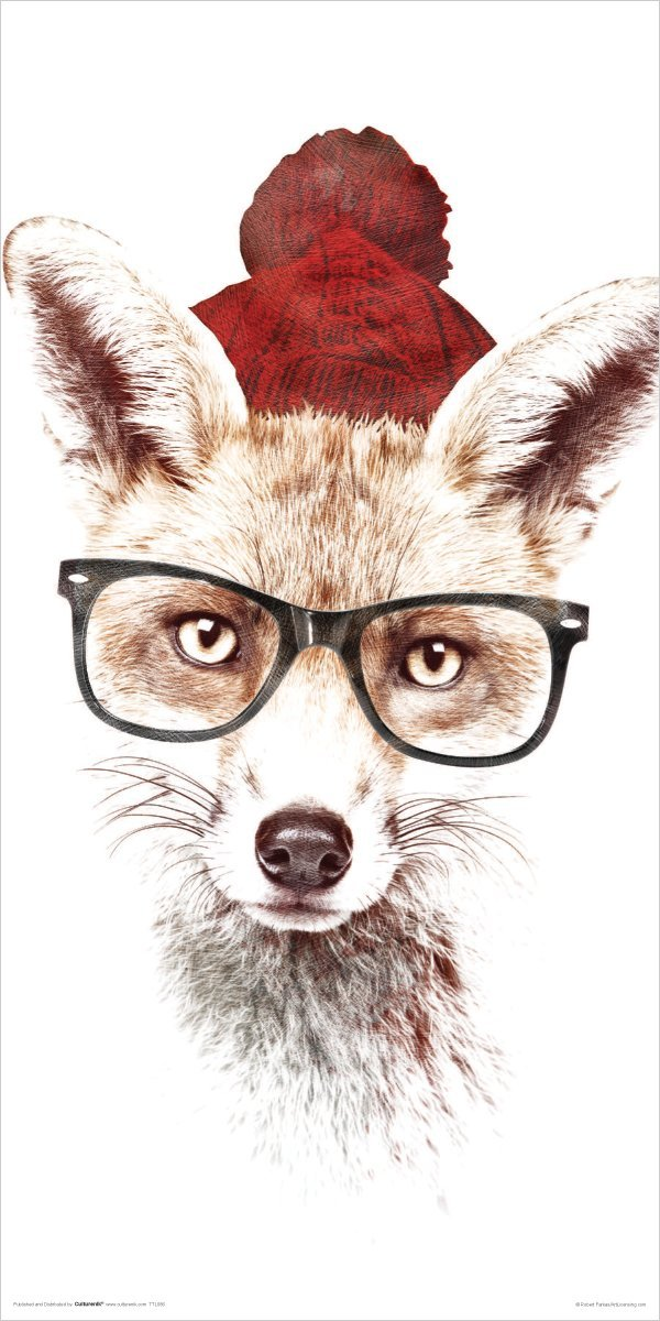 Robert Farkas <font><b>Hipster</b></font> Fox Modern Contemporary Animal Lifestyle Decorative Art Poster Print 24x48 inch Art Silk Poster <font><b>home</b></font> <font><b>Decor</b></font>