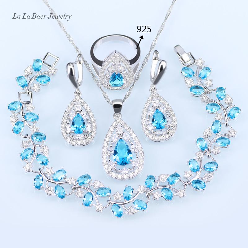 134dc103606 Compre LB Conjuntos De Jóias De Noiva De Casamento Céu Azul Opala ...