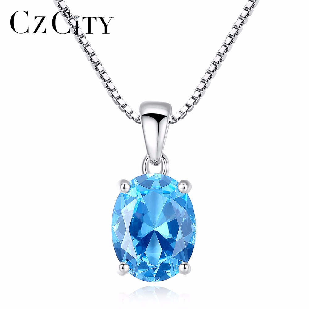 CZCITY 2.3 Carat Oval Shape Solitaire Natural Sky Blue Topaz Stone Pendant 925 Sterling Silver Charms Chain Necklace for Women