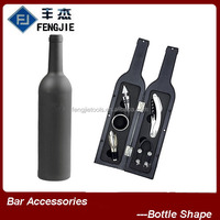 Plastic bottle shape corkscrew and wine stopper set