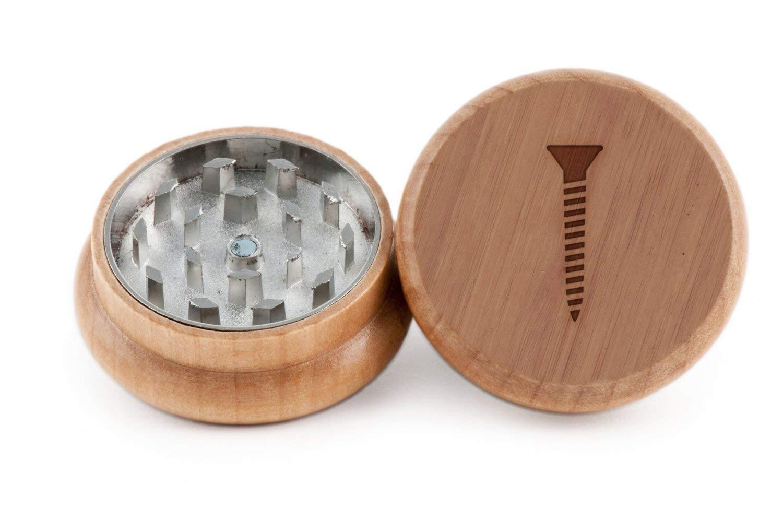 GRINDCANDY Spice And Herb Grinder - Laser Etched Screw Design - Manual Oak Pepper Grinder