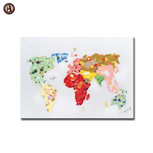 Hot Selling Palette Knife World Map Oil Painting Art on Canvas