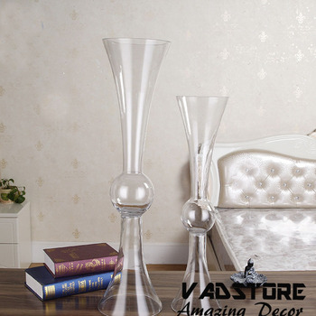 Headstand Clear Trumpet Glass Vase Wedding Table Centerpiece Flower