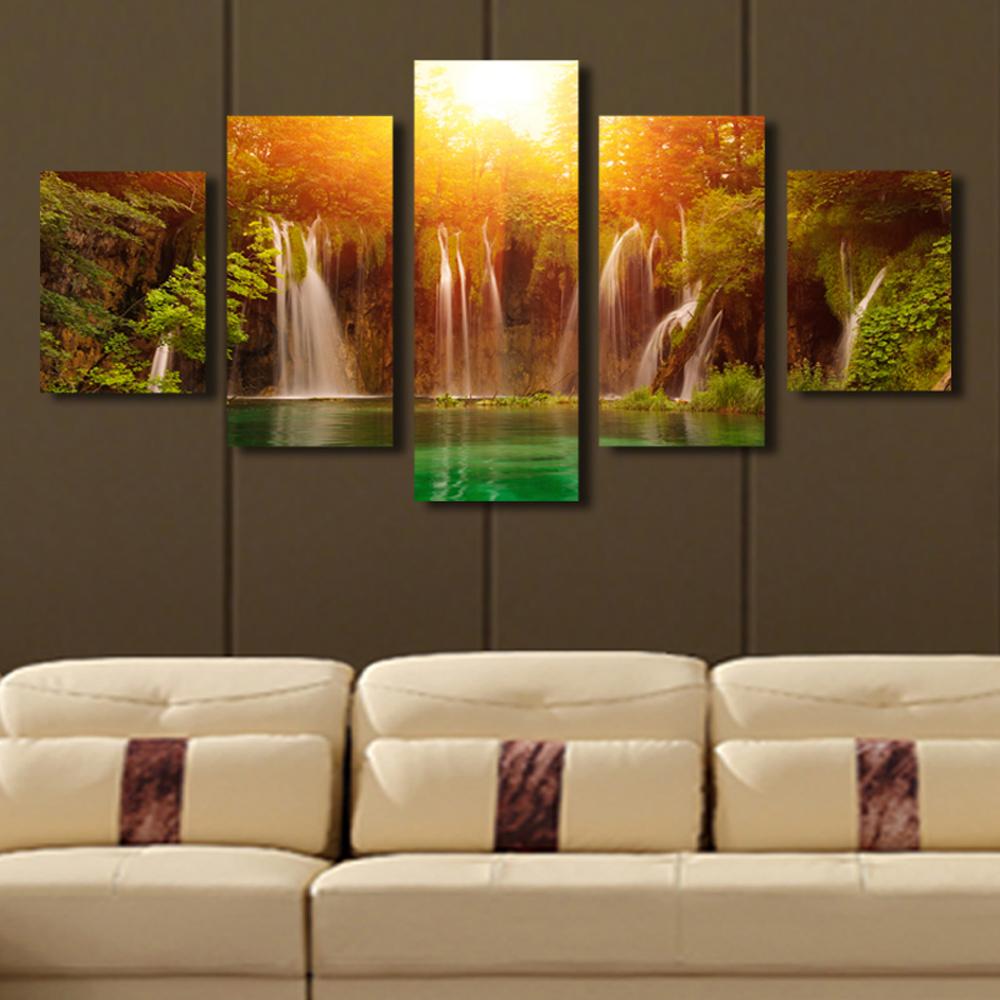 Aliexpress.com : Buy 5 Panel Canvas Art Waterfall Sunrise ...