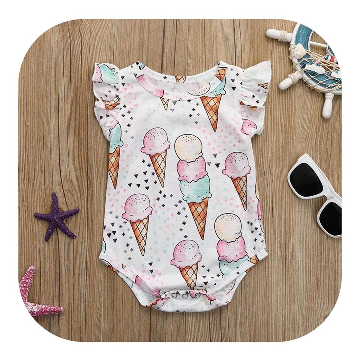 Molyveva Infant Toddler Baby Girl Romper Summer Bodysuit Jumpsuit Ice Cream