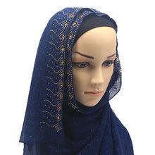 Жемчужный Золотой женский шарф шифоновый фуляр хиджаб тюрбан Femme мусульманское платье исламское одежда тюрбан оптовая продажа(Китай)