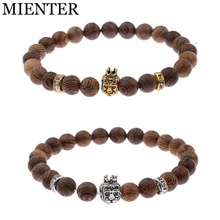 Jewelry dropshipping charms men accessories 8mm wood beads Lion head crown bracelet unisex