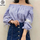 KEYID literary fancy lace striped one-shoulder girls blouse
