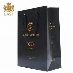 Eastbox. Wholesale Black Custom Print Wine Paper Bag Bag With Handle For Wine Box,Luxury Gift Bag Paper