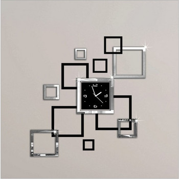 modern design removable mirror sticker clock watches kids room wall