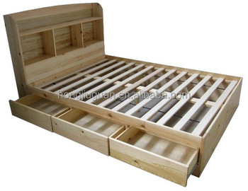 Awesome Solid Pine Wood Double Queen Size Bed,double Size Bed With Cabinet,wooden  Twin