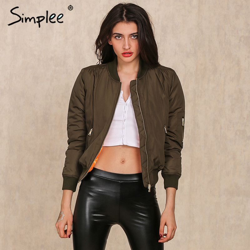 Simplee 2017 army green parkas padded cool basic bomber jacket outwear for women