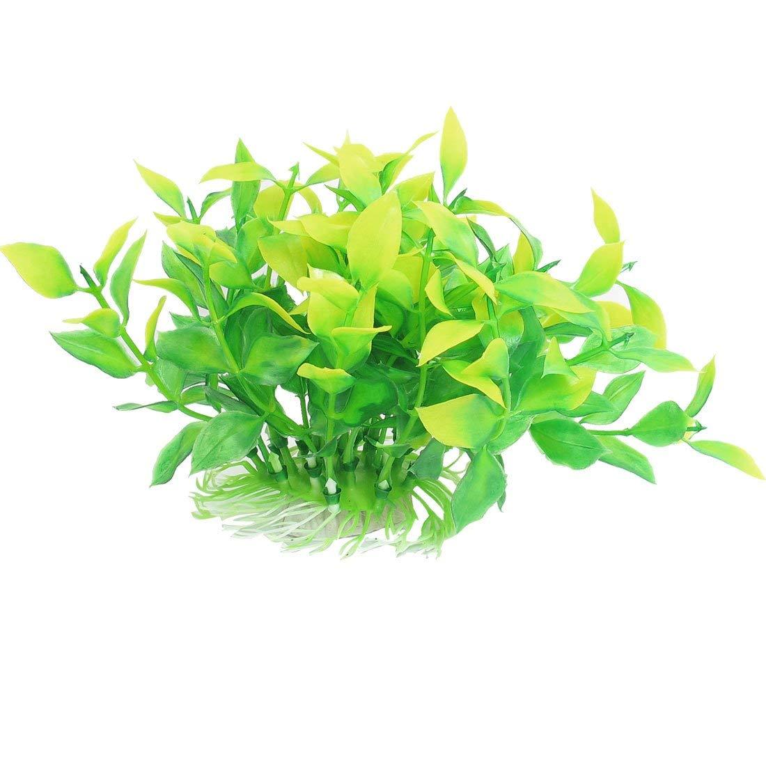 Uxcell Plastic Artificial Manmade Aquarium Decor Grass/Plant, 4.7-Inch, Green/Yellow