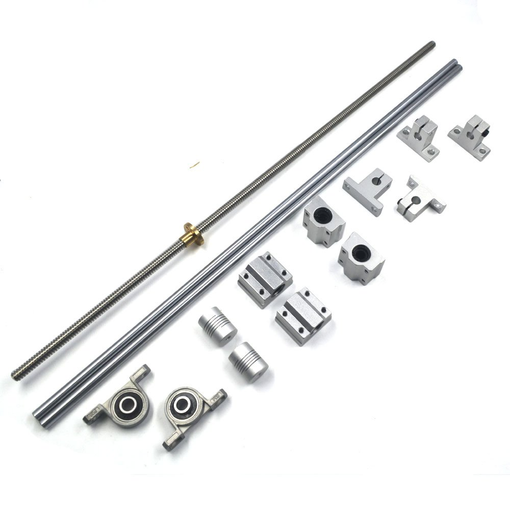 Mergorun 500mm Horizontal Optical Axis & Flexible Shaft Coupling & 8mm Lead Screw Dual Rail Shaft Support Pillow Block Bearings pack of 15