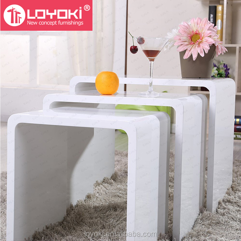New Design High Gloss set of 3 nest Table MDF wood Side Table Living Room coffee table