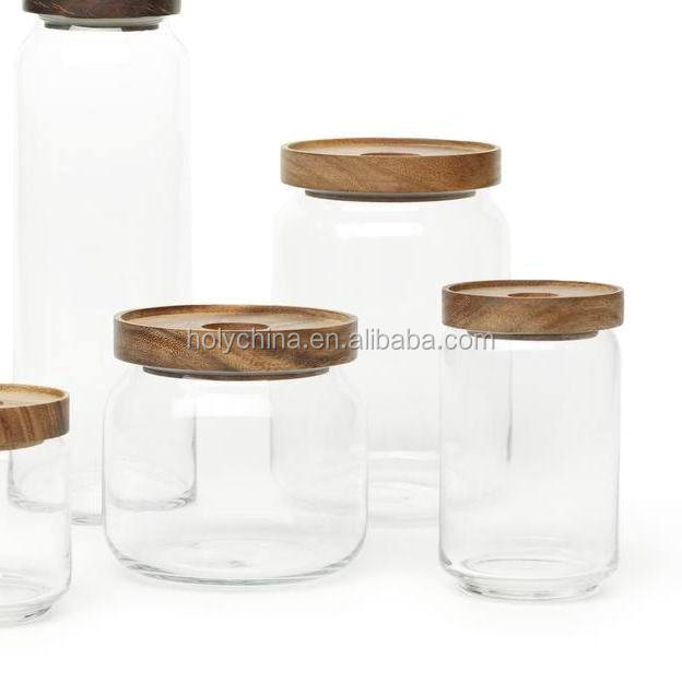 hot sale high quality jars with wood lids