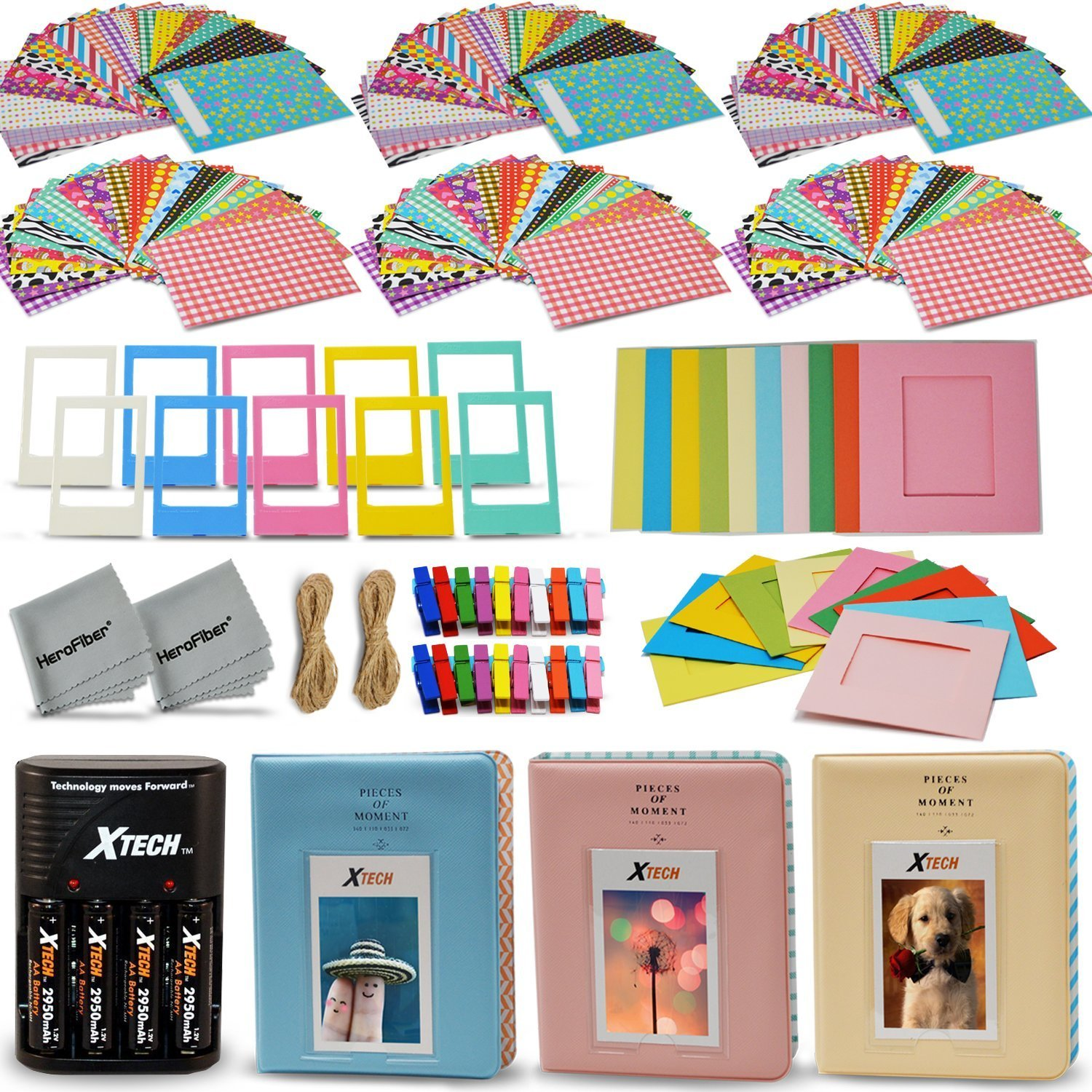 Xtech FujiFilm Instax Mini 9/8 ACCESSORIES KIT Bundle f/ Fujifilm Instax MINI 9 / MINI 8 Includes: 3 Photo Albums + AA Batteries & Charger + 120 Colorful Sticker Frames + Assorted Frames + More!