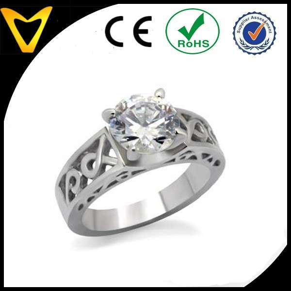 Alibaba Fashion Jewelry Engagement Ring, Wedding Ring, Stainless Steel Round Cut CZ Solitaire Celtic Design Engagement Ring